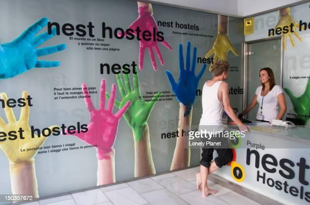 Reception area in the Purple Nest Hostel, Plaza Tetuan 5.