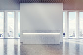 Reception desk in a corridor with large panoramic window with wide shades. 3d rendering. Mock up. Toned image