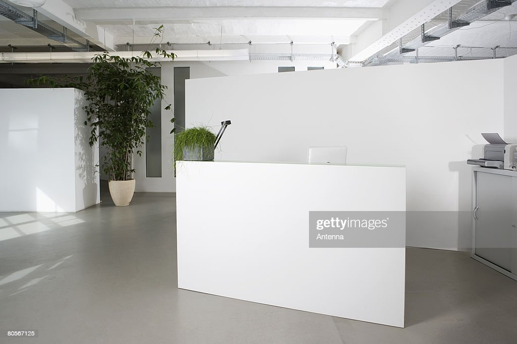 Reception desk in the foyer of an office building