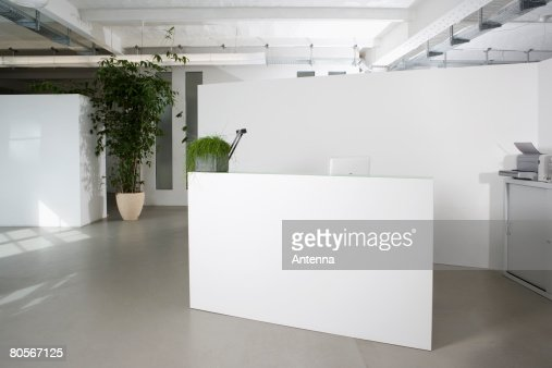 Office Foyer Images : Reception desk in the foyer of an office building stock