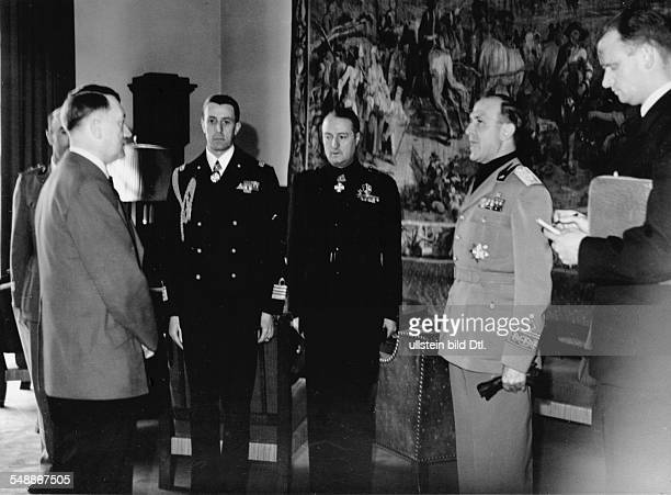 Reception for the italian ambassador Dino Alfieri Hitler and Alfieri at the Berghof Hitlers home in the Obersalzberg of the Bavarian Alps near...