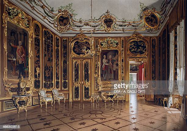 Reception hall of the apartments of Maria Theresa Schoenbrunn Palace Vienna Austria print 19th century