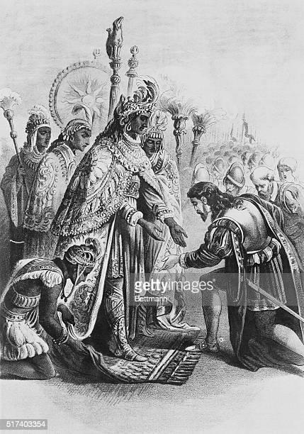 Reception of Cortez by the Emperor Montezuma Lithograph