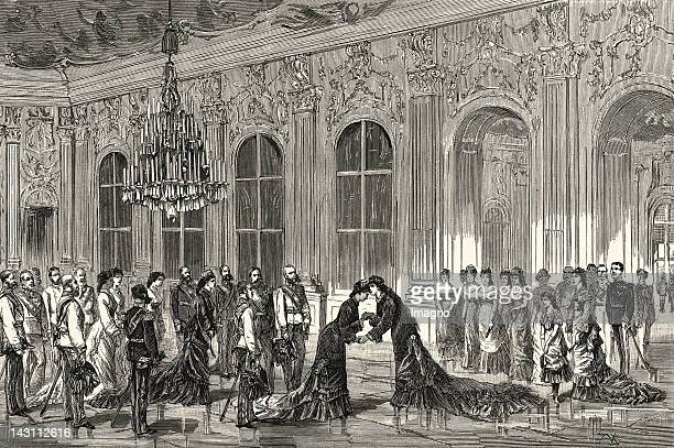 Reception on the occasion of the wedding of crown prince Rudolf and Stephanie of Belgium in Schoenbrunn Castle Vienna In Neue Illustrirte Zeitung Nr...