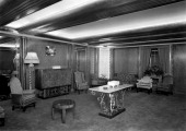 Reception room at the Odeon Leicester Square London 1937 The strong horizontal lines of the ceiling corner light feature and mirrors with scalloped...