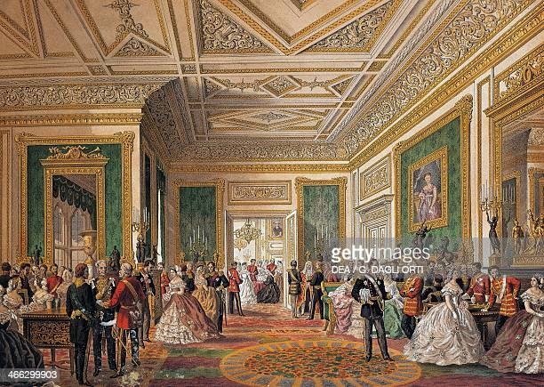 Reception room at Windsor Castle for the wedding of Edward VII Prince of Wales and Princess Alexandra of Denmark March 7 1863 United Kingdom 19th...
