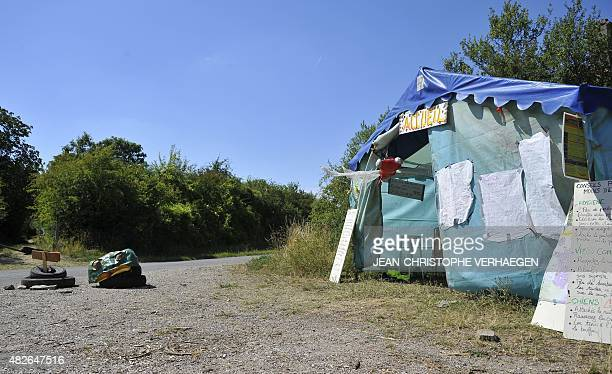 A reception tent is installed at the 'VMC camp' which will take place from August 1 to 10 to protest against the Cigeo project on August 1 between...