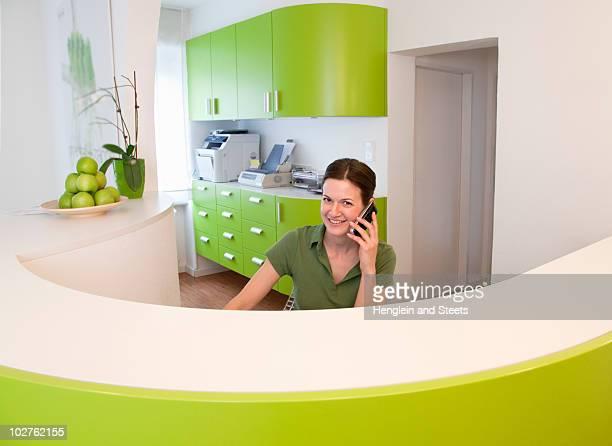 Receptionist on phone