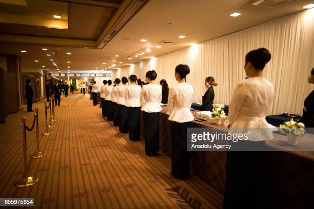 Receptionist wait for the close coworkers and family of businessman Masaya Nakamura the founder of video game company Bandai Namco and known as the...