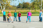 Kids playing outside during recess.