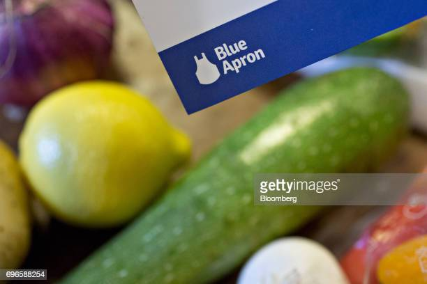 A recipe card from a Blue Apron Holdings Inc mealkit delivery is arranged for a photograph in Tiskilwa Illinois US on Wednesday June 14 2017 Blue...