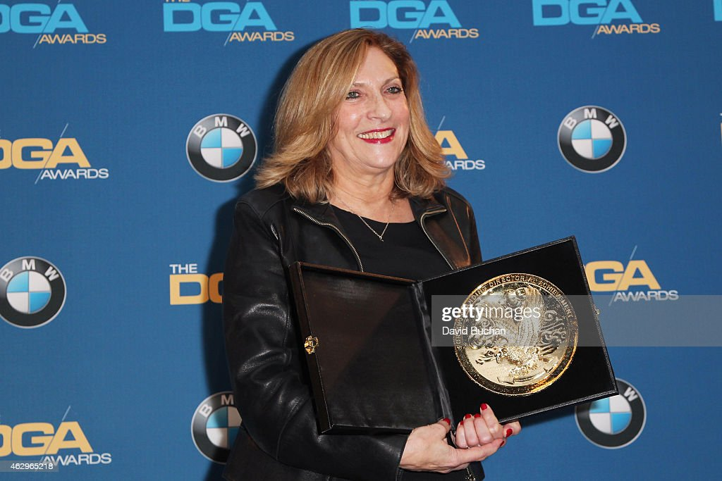 Recipient for Outstanding Directorial Achievement in Dramatic Series award Lesli Linka Glatter (Homeland, 'From A to B and Back Again') poses in the press room at the 67th Annual Directors Guild Of America Awards at the Hyatt Regency Century Plaza on February 7, 2015 in Century City, California.