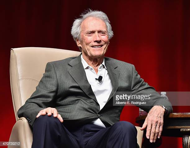 Recipient of the Fandango Fan Choice award for Favorite Film of 2014 'American Sniper' Clint Eastwood speaks onstage during CinemaCon and Warner Bros...