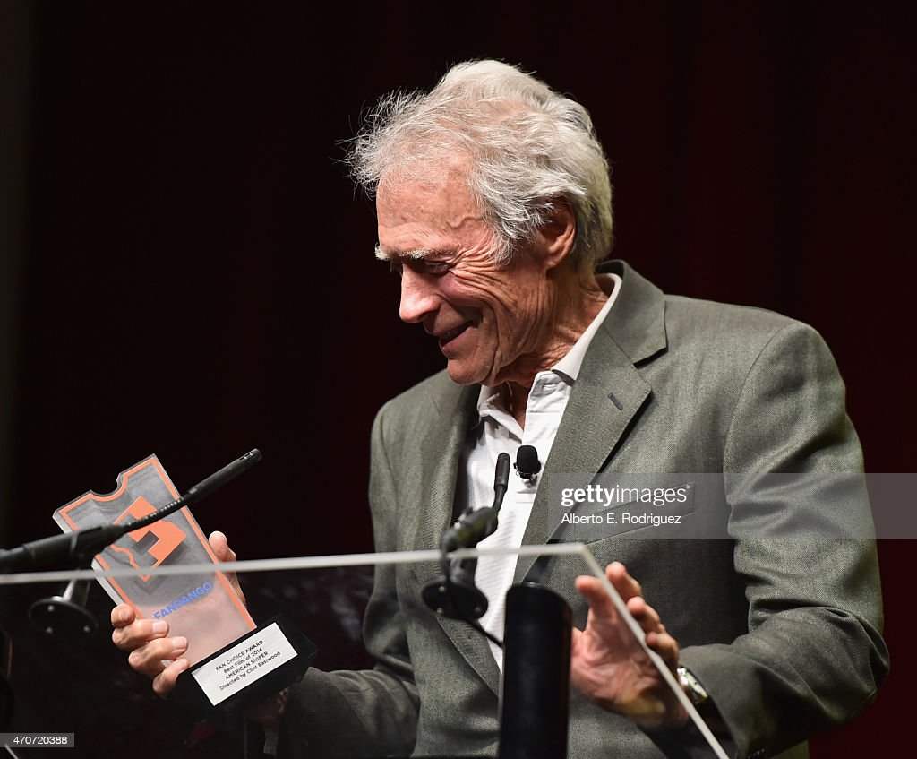 """Recipient of the Fandango Fan Choice award for Favorite Film of 2014, 'American Sniper,' Clint Eastwood speaks onstage during CinemaCon and Warner Bros. Pictures Present """"The Legend of Cinema Luncheon: A Salute to Clint Eastwood"""" at Caesars Palace during CinemaCon, the official convention of the National Association of Theatre Owners, on April 22, 2015 in Las Vegas, Nevada."""