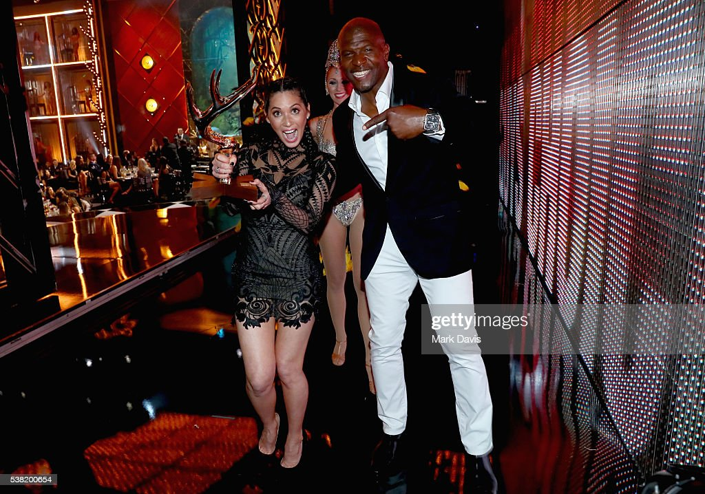Recipient of the Jean Claude Gahd Dam award Olivia Munn and actor Terry Crews attend Spike TV's 10th Annual Guys Choice Awards at Sony Pictures...