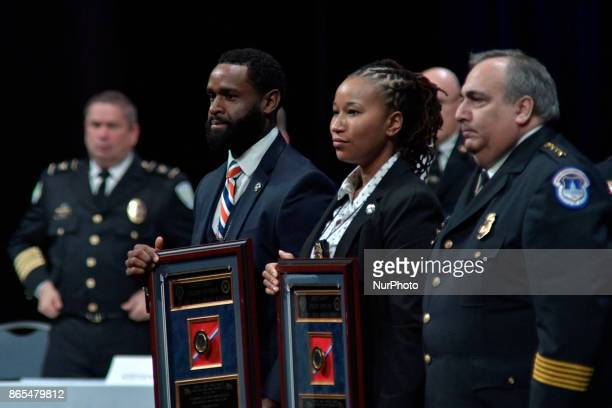 Recipients of Police Officer of the Year Awards are recognized on stage during the General Assembly of the International Association of Chiefs of...