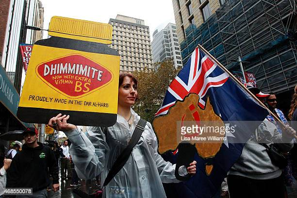 'Reclaim Australia' protesters gather in the rain at Martin Place on April 4 2015 in Sydney Australia 'Reclaim Australia' grassroots rallies are...