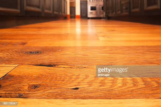 Reclaimed hardwood timber floor in kitchen.