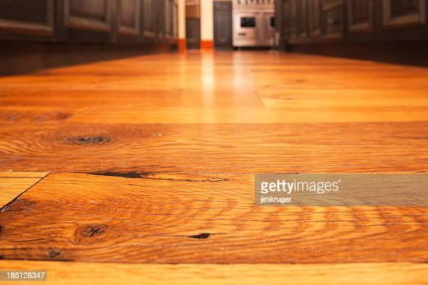 Reclaimed hardwood timber floor in kitchen.