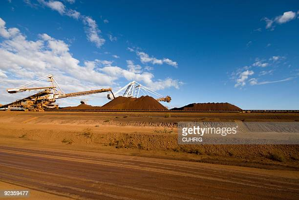 Reclaimer Stacker on Iron Ore Loading Mine Site