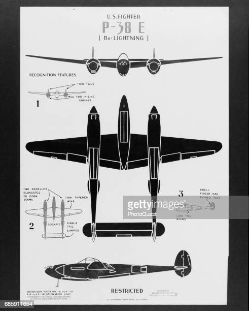 Recognition diagram of the Lockheed P38E fighter plane Washington DC 1943