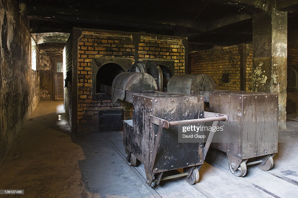Reconstructed crematorium ovens in Gas Chambers at Auschwitz Concentration Camp, Poland : Stock Photo