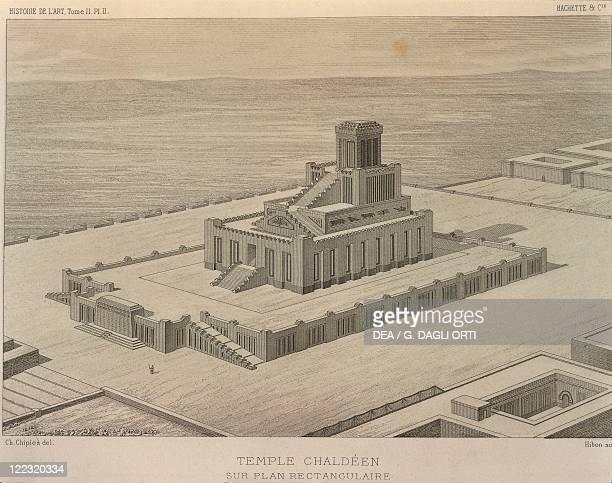 Reconstruction of a Chaldean Temple Engraving from Georges Perrot and Charles Chipiez Histoire de l'art dans l'Antiquité 'Chaldeé et Assyrie' 1882...