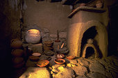 A reconstruction of a house built during 3rd Century AD during the period when the Talmud Jewish commentaries on the Bible were written at an...