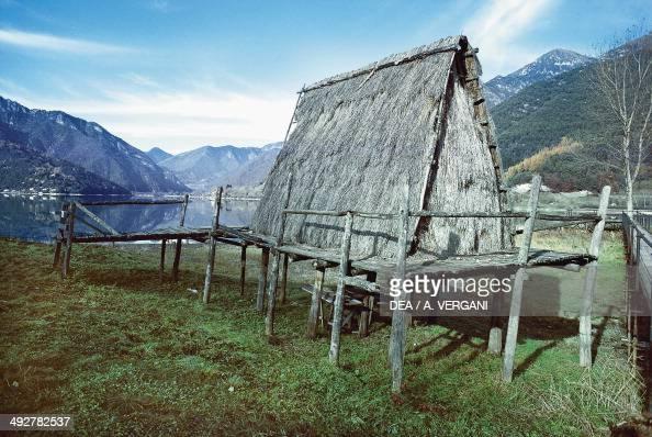 Reconstruction of a stilt house in the Museum of Stilt Houses of Lake Ledro Molina di Ledro Lake Ledro TrentinoAlto Adige Italy