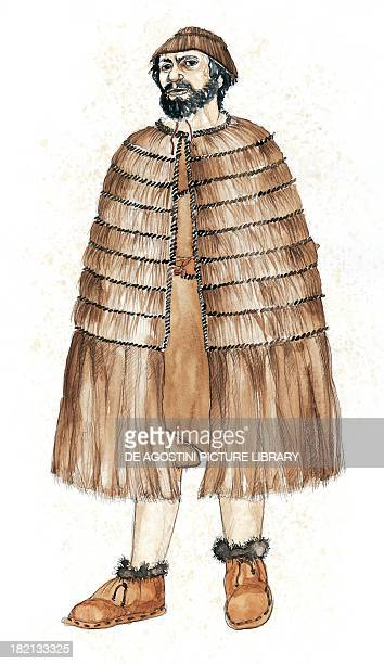 Reconstruction of clothing of Similaun Man or Iceman Eneolithic Period illustration