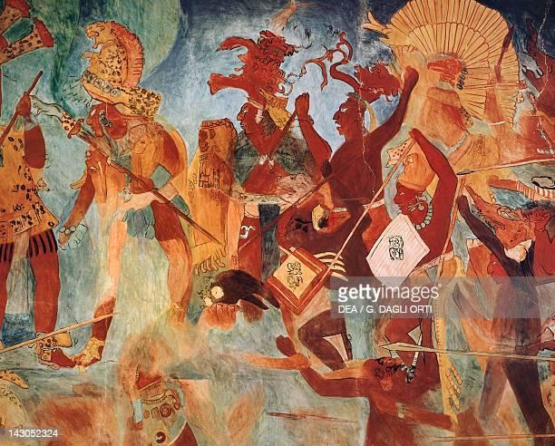 Reconstruction of frescos in Bonampak Detail showing a war scene Mayan Civilization 9th Century Mexico City Museo Nacional De Antropología
