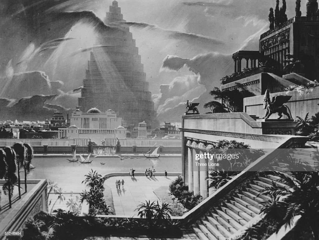 625 BC, A reconstruction of the city of Babylon, with the Tower of Babel in the distance, and one of the Ancient Seven Wonders, the Hanging Gardens built by King Nubuchadnezzar to please one of his wives. Original Artwork: Illustration by artist Mario Larrinaga circa 1950.