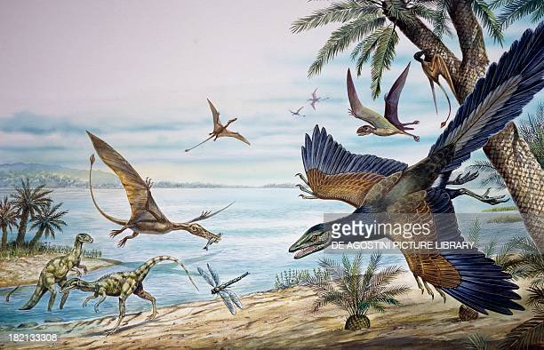 Reconstruction of the flora and fauna of a marshy environment from the Jurassic Period drawing