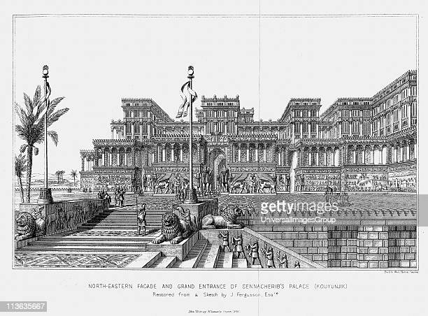 Reconstruction of the northeastern facade of Sennacherib's palace Assyrian From Austen Layard Discoveries in the Ruins of Nineveh and Babylon London...