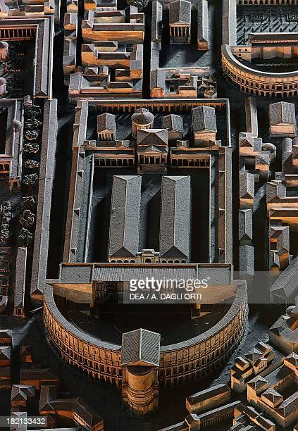 Reconstruction of the theatre of Pompey detail of a model of ancient Rome preserved in the Museum of Roman Civilisation Rome Italy Rome Museo Della...
