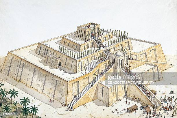 Reconstruction of the Ziggurat of Ur drawing Mesopotamian civilisation