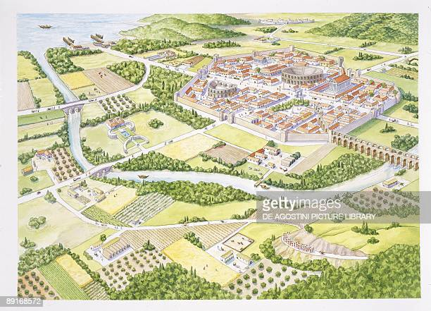 Reconstruction of typical Roman town illustration