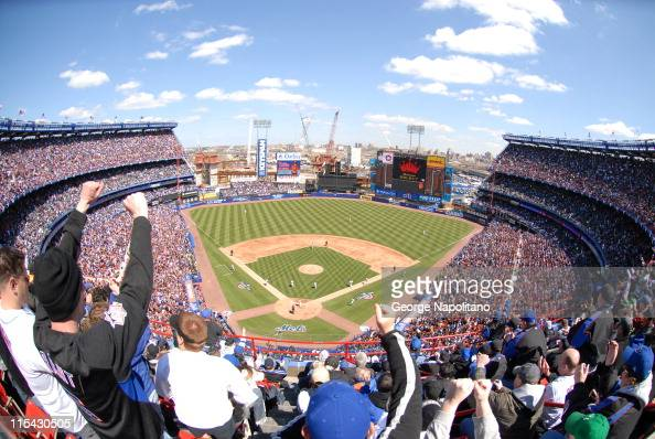A record 56657 fans filled Shea Stadium for Opening Day 2007 as the new Citi Field looms in the background