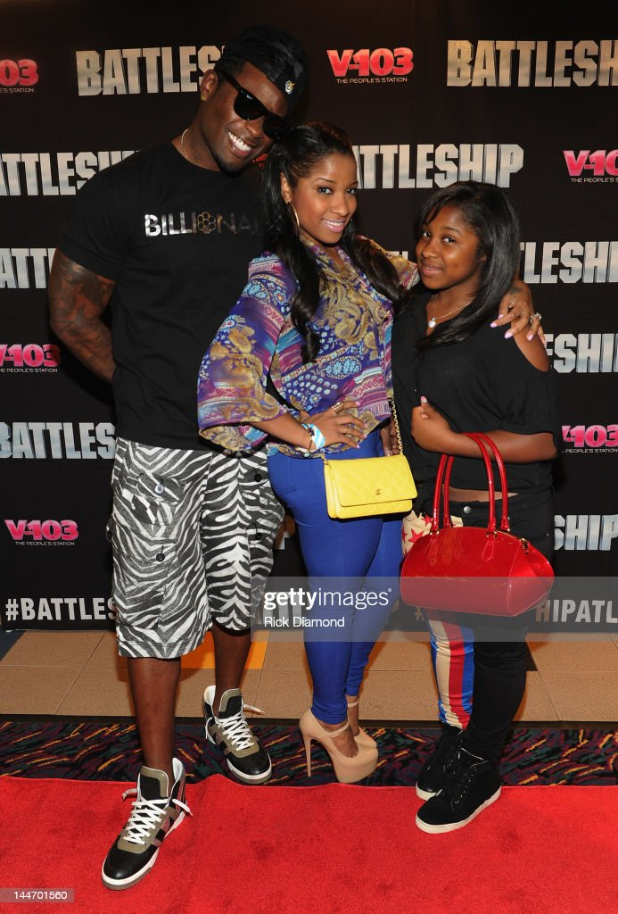 Record Co. Executive Memphitz his wife TV Reality Star Toya Wright and Regginae Carter (Lil' Wayne's daughter) attend V-103 Private Atlanta BATTLESHIP Screening at AMC Phipps Plaza on May 17, 2012 in Atlanta, Georgia.