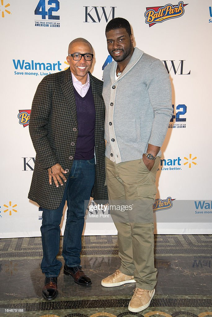 Record Executive <a gi-track='captionPersonalityLinkClicked' href=/galleries/search?phrase=Kevin+Liles&family=editorial&specificpeople=236082 ng-click='$event.stopPropagation()'>Kevin Liles</a> and Stephen Hill attend the '42' event honoring the legacy of Jackie Robinson at the Brooklyn Academy of Music on March 25, 2013 in New York City.