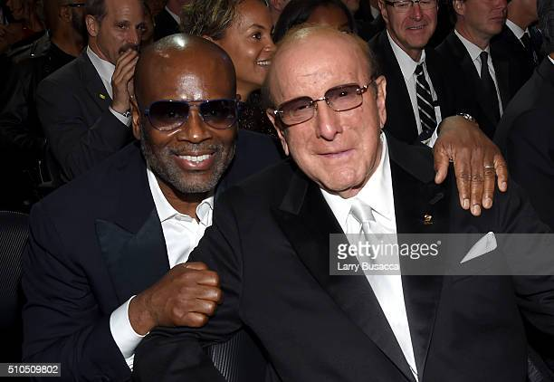 Record executive LA Reid and music executive Clive Davis attend The 58th GRAMMY Awards at Staples Center on February 15 2016 in Los Angeles California