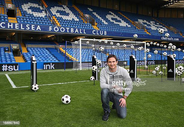Record goalscorer Frank Lampard of Chelsea poses for an adidas photo at Stamford Bridge on May 16 2013 in London England