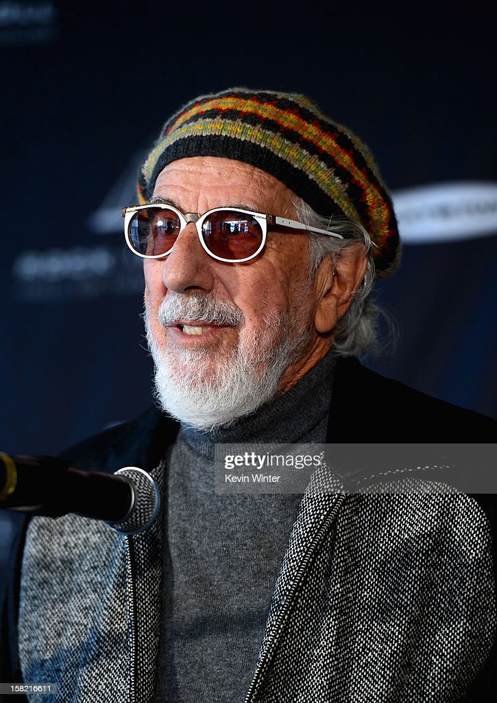 Record producer and Ahmet Ertegun Award recipient Lou Adler speaks at the press conference for the Rock and Roll Hall of Fame 2013 Inductees announcement at Nokia Theatre L.A. Live on December 11, 2012 in Los Angeles, California.