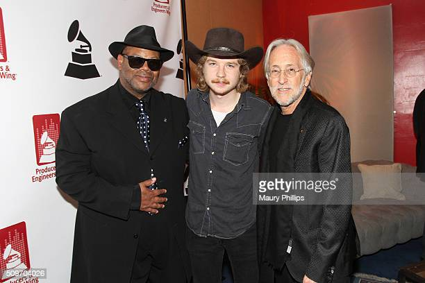 Record producer and engineer Jimmy Jam recording artist Colter Wall and The Recording Academy CEO and President Neil Portnow pose during the PE Wing...