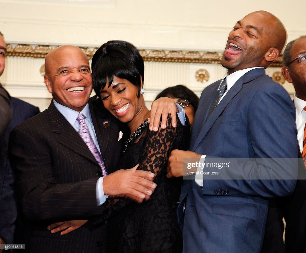 Record producer and founder of Motown Records Berry Gordy and actors Valisia Le Kae and Brandon Victor Dixon attend The 16th Annual Wall Street Project Economic Summit - Day 1 at The Roosevelt Hotel on January 31, 2013 in New York City.