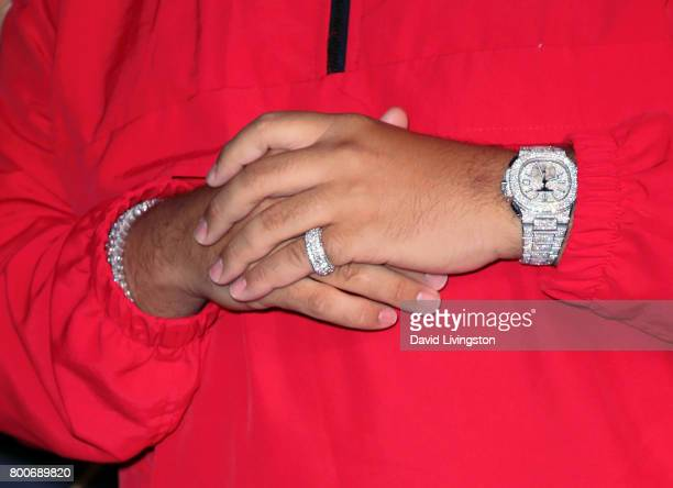Record producer DJ Khaled watch ring detail attends the 2017 MAXIM Hot 100 Party at the Hollywood Palladium on June 24 2017 in Los Angeles California