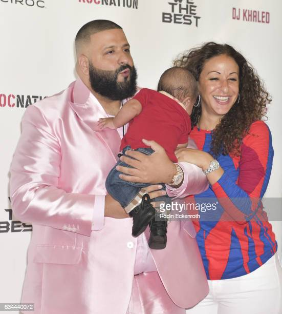 Record producer DJ Khaled wife Nicole Tuck and son Asahd Tuck Khaled attend a press conference at The Beverly Hills Hotel on February 9 2017 in...