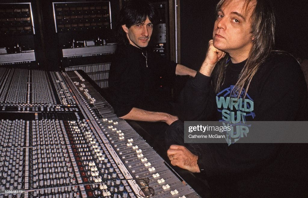 Record producer Ed Stasium (R) and musician Lenny Kaye (L) pose for a portrait in March 1988 in New York City, New York.