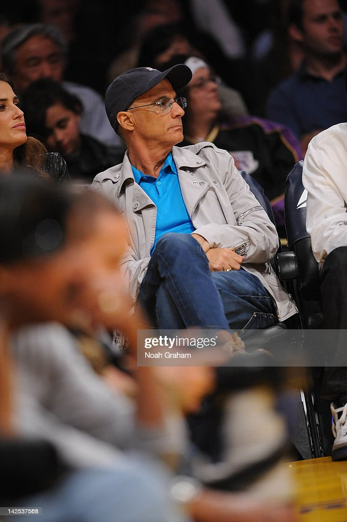 Record producer <a gi-track='captionPersonalityLinkClicked' href=/galleries/search?phrase=Jimmy+Iovine&family=editorial&specificpeople=850753 ng-click='$event.stopPropagation()'>Jimmy Iovine</a> attends a game between the Houston Rockets and the Los Angeles Lakers at Staples Center on April 6, 2012 in Los Angeles, California.
