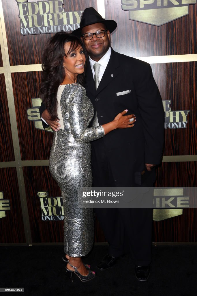Record producer Jimmy Jam and Lisa Padilla arrive at Spike TV's 'Eddie Murphy One Night Only' at the Saban Theatre on November 3 2012 in Beverly...